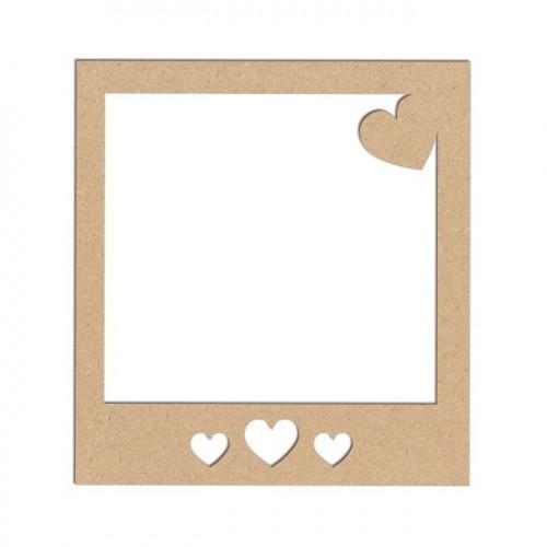 Support en bois médium - Polaroïd cœurs - 9 x 8,3 cm