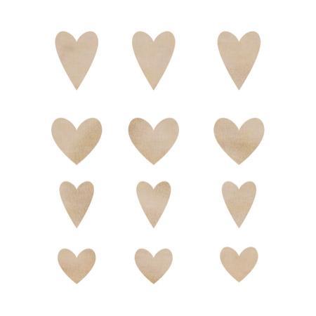 Cœurs en bois - 12 pcs
