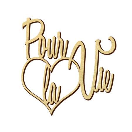 Mot en bois médium - Coeur pour la vie - 4,9 x 5,1 cm