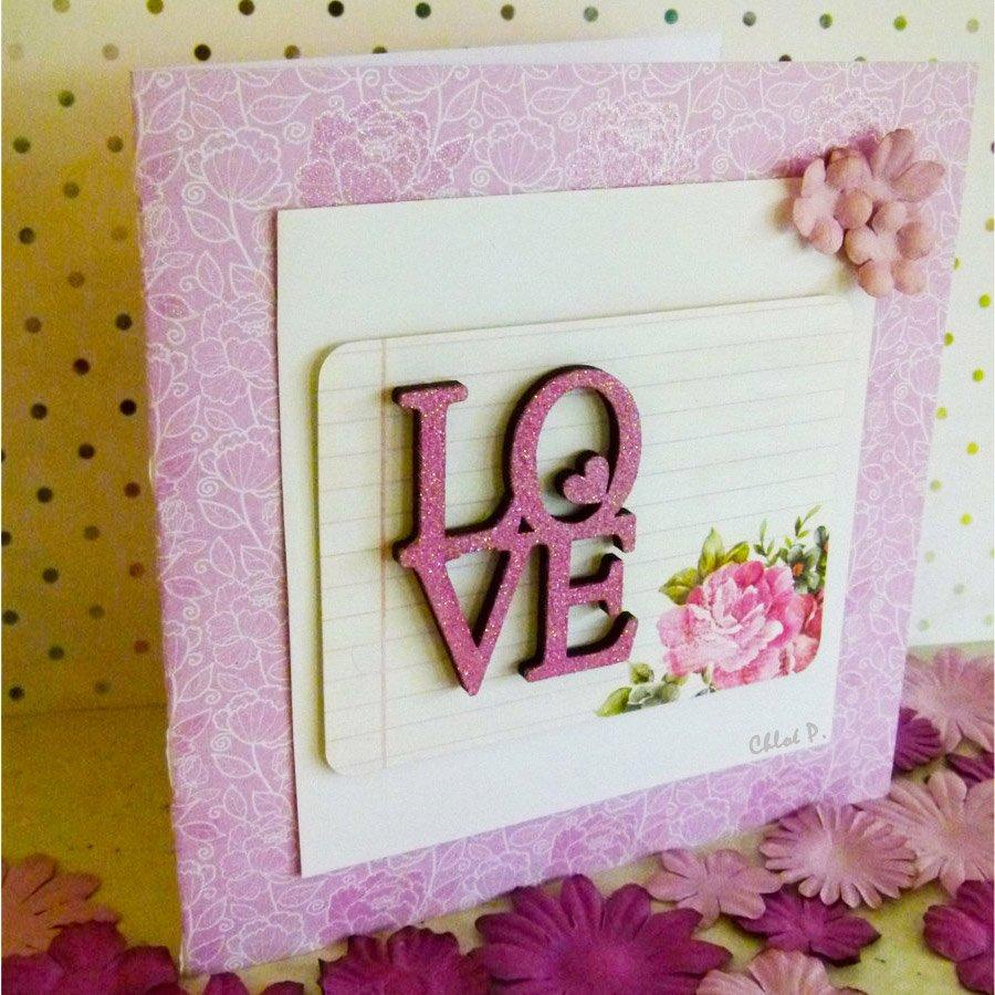 Mot en bois médium - Love petit cœur - 5,5 x 4,5 cm