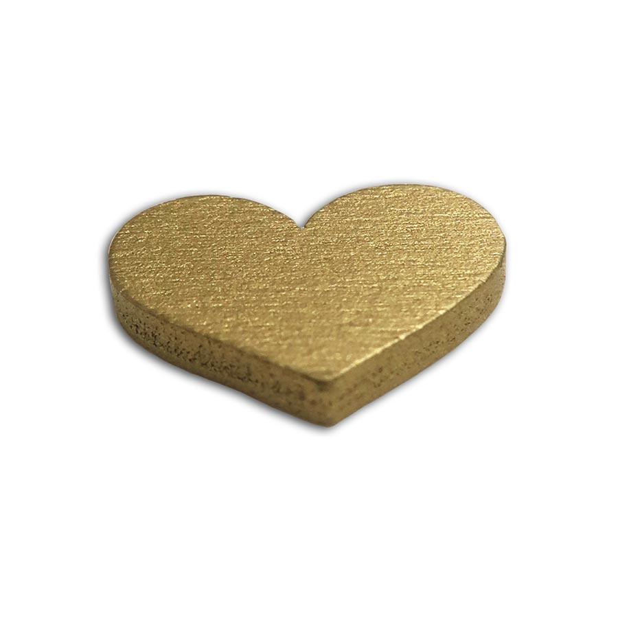 Cœurs en bois peint à parsemer - or / blanc - 25 pcs