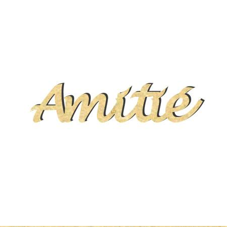 Mot en bois médium - Amitié - 5 x 1,2 cm