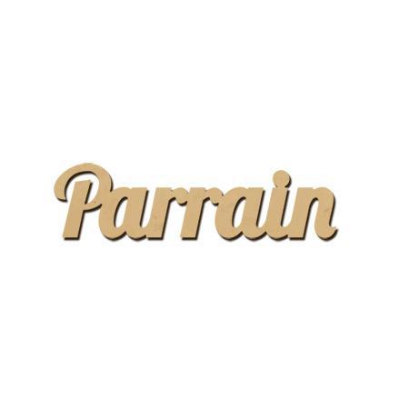Mot en bois médium - Parrain - 4 x 1 cm