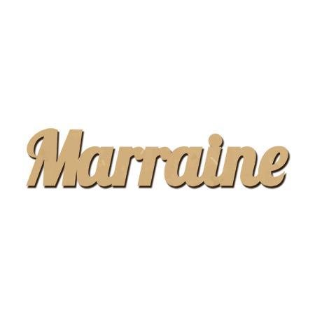 Mot en bois médium - Marraine - 4,8 x 1 cm