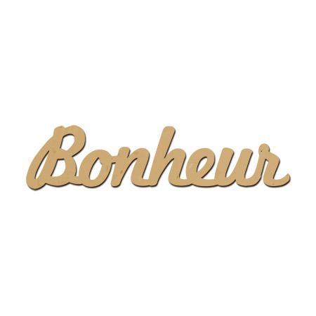 Mot en bois médium - Bonheur - 6,8 x 1,7 cm