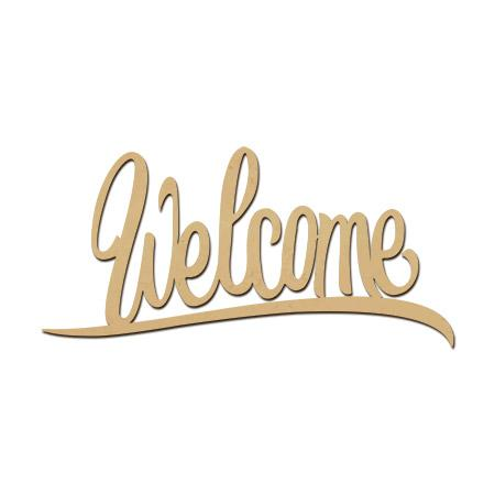 Mot en bois médium - Welcome - 10 x 4,5 cm