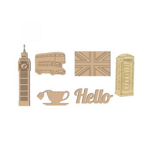 Décorations thème Londres en bois x6 - 4 x 2.6 cm