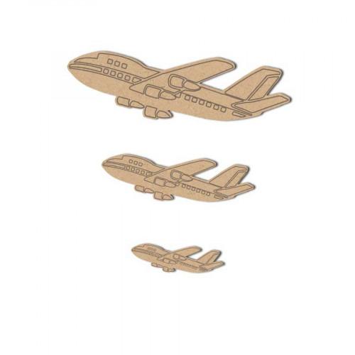 Avions en bois gravés x3 - 3 x 8.5 cm