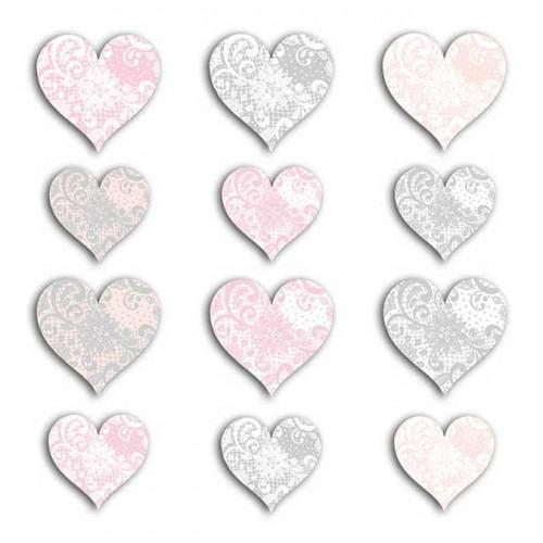 Cœurs - rose et gris - 60 découpes