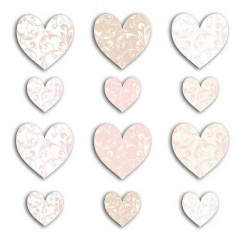 Cœurs - beige et rose - 60 découpes