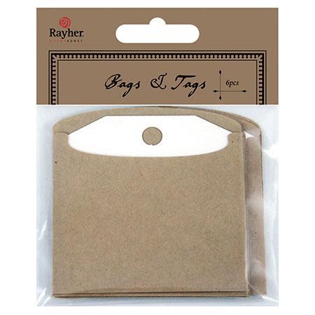 6 tags blancs avec enveloppes kraft - 7.2cm