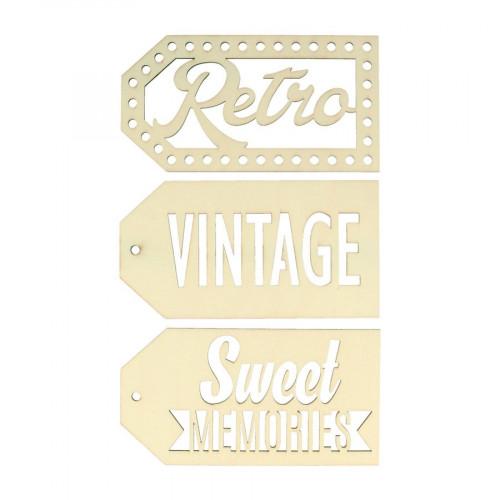 Sweet Memories - Etiquettes en bois - Vintage - 3 pcs
