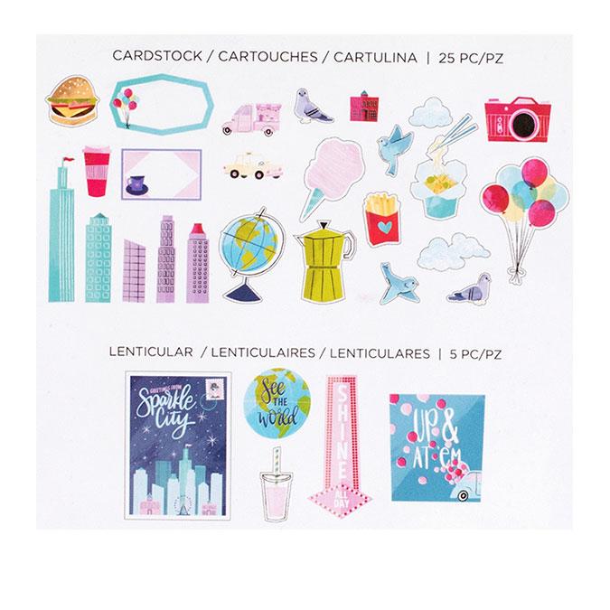 Sparkle City Formes découpées en papier - 30 pcs