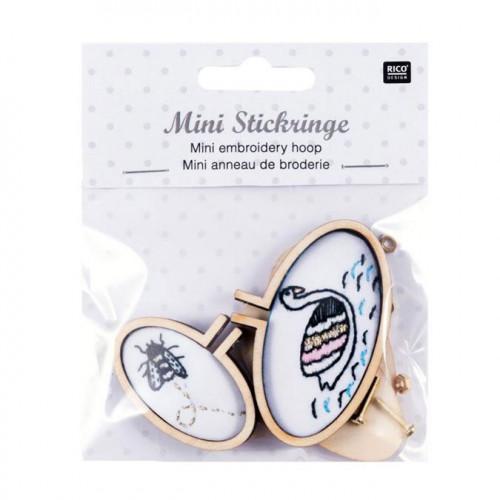 Mini Tambour de broderie - ovale - Cygne et abeille - 2 pcs