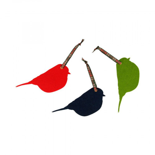 Noël Ecossais - Oiseaux en feutrine - 3 pcs