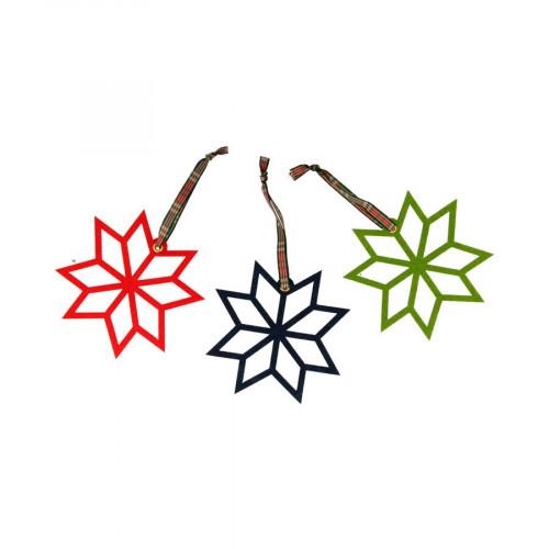 Noël Ecossais - Poinsettia en feutrine - 3 pcs