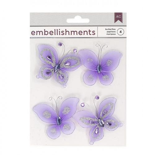 Papillons en fil métallique - violet - 4 pcs