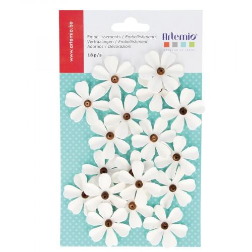 Fleurs en papier - Perle - 18 pces