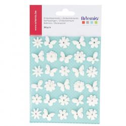 Fleurs et Papillons en papier - Paillettes - 30 pces