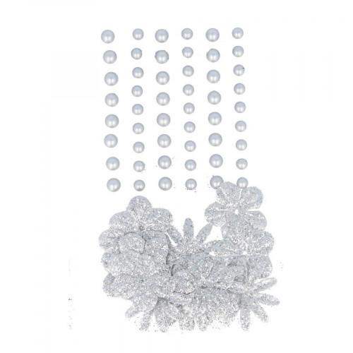 Perles autocollantes + fleurs en papier - Silver