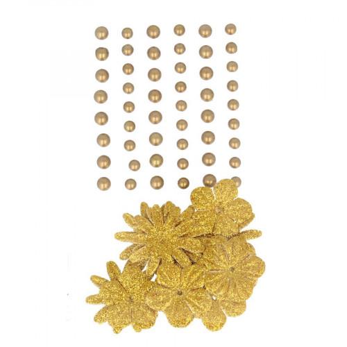 Perles autocollantes + fleurs en papier - Gold