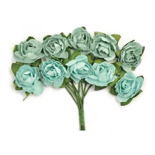 Fleurs vertes en papier - 1 cm