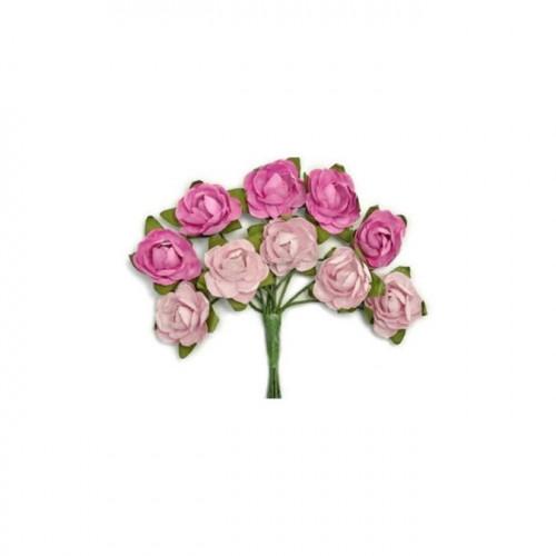 Mini fleurs en papier - fuchsia - 10 pcs