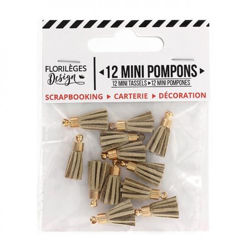 Mini Pompons - sable - 12 pcs
