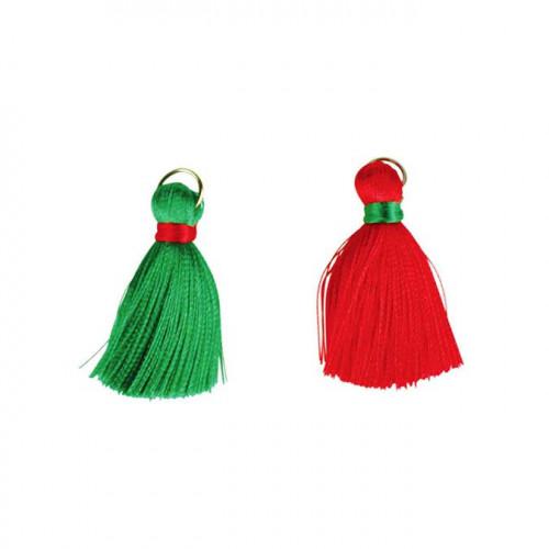 Pompons en fil de coton - vert / rouge - 4 cm - 8 pcs