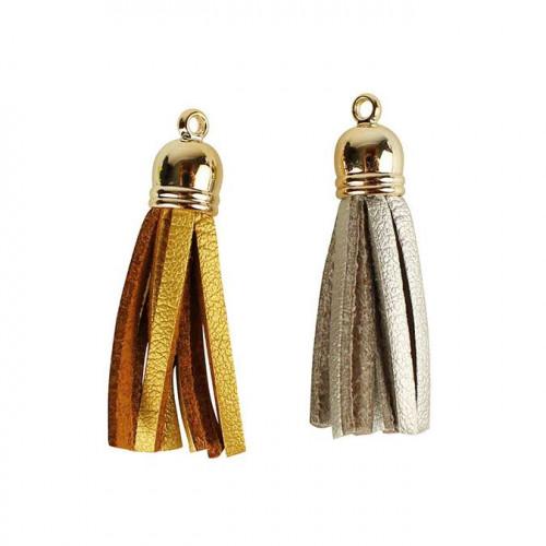 Pompons en faux cuir - or / argent - 4 cm - 8 pcs