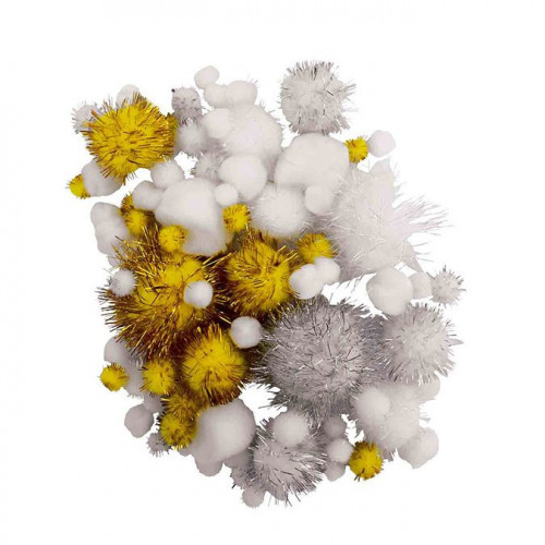 Pompons Glitter - or / argent / blanc