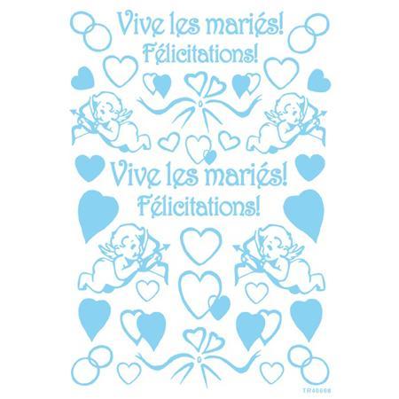 Transfert adhésif 15 x 21 cm - Vive les mariés !