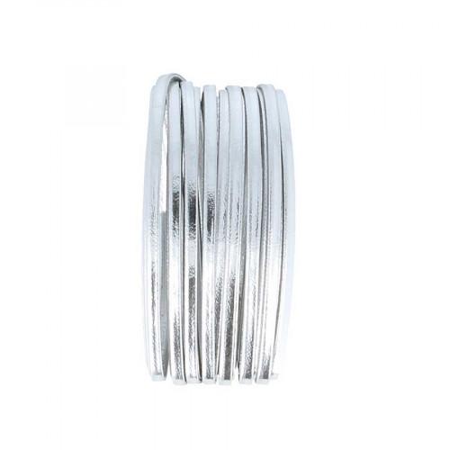 Cordon en cuir - argent - 4 mm x 5 m