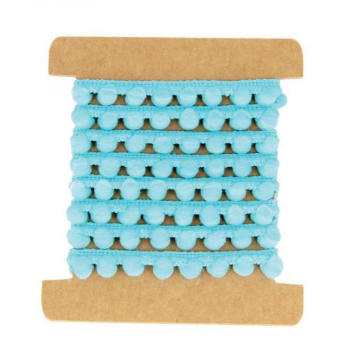 Ruban pompons - Turquoise - 1 m