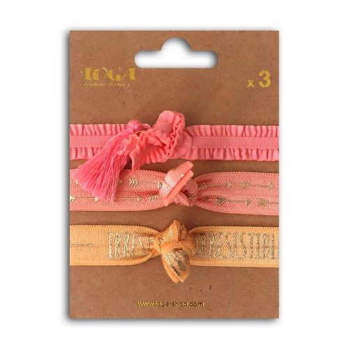 Bracelets élastiques - rose - 3 pcs
