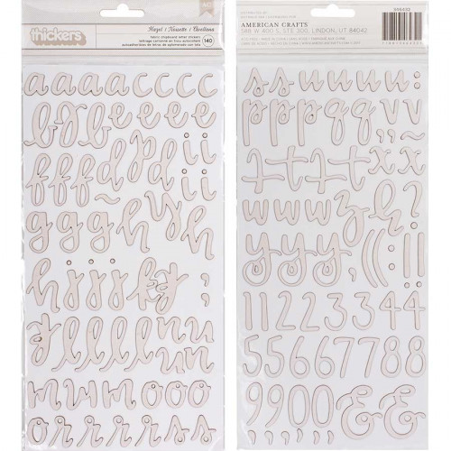 Stickers Alphabet en chipboard recouvert de tissu - 140 pcs