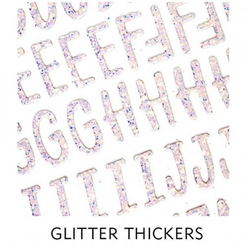 Stickers Alphabet en chipboard - pailleté - 151 pcs