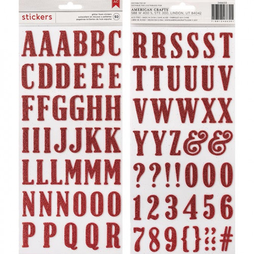 Alphabet Stickers mousse pailletée - rouge - 93 pcs