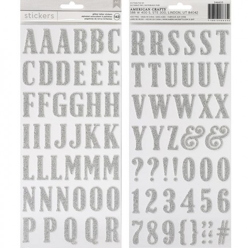 Alphabet Stickers mousse pailletée - argent - 93 pcs