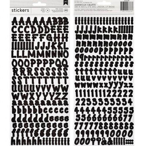 Alphabet Stickers - Small Brush / noir - 143 pcs