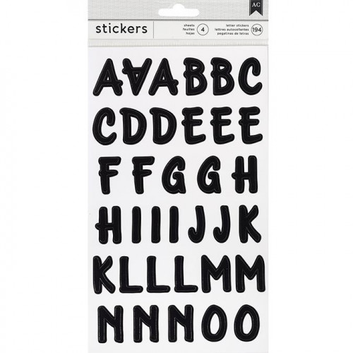 Alphabet Stickers - brush / noir - 194 pcs