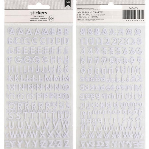 Alphabet Stickers - Small San Serif / pailleté blanc - 304 pcs