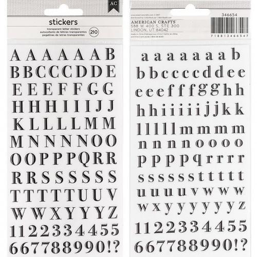 Alphabet Stickers transparents - noir - 210 pcs