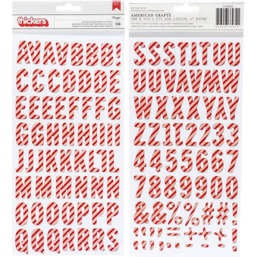 Alphabet Stickers Chipboard - rayures rouges et blanches - 138 pcs