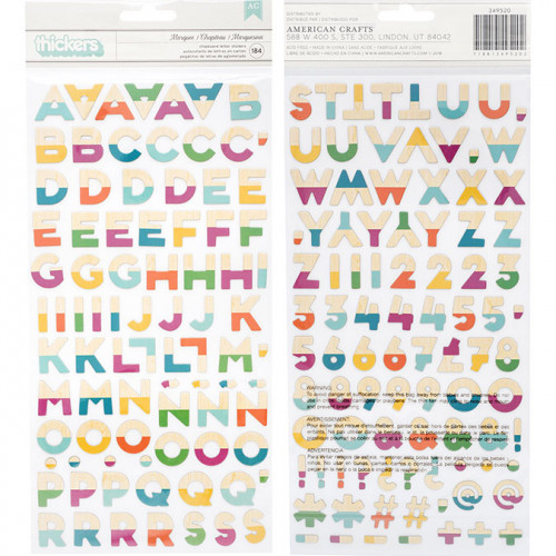 Alphabet Stickers New Day - chipboard multicolore -184 pcs