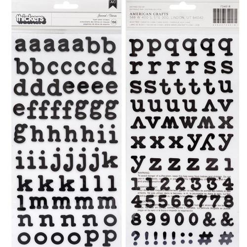 Alphabet Stickers en mousse noire - 156 pcs