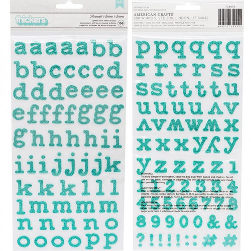 Alphabet Stickers mousse pailletée turquoise - 156 pcs
