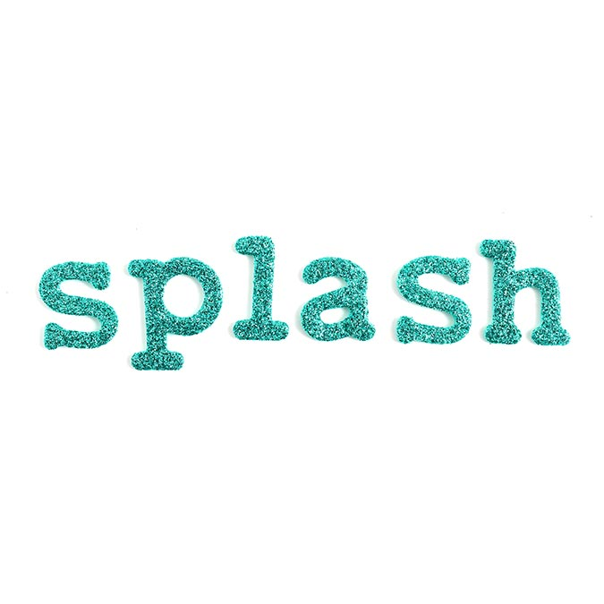 Alphabet Stickers mousse pailletée turquoise - 156 pcs