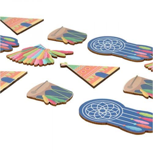 Totem - Stickers en bois - Indiens - 12 pcs
