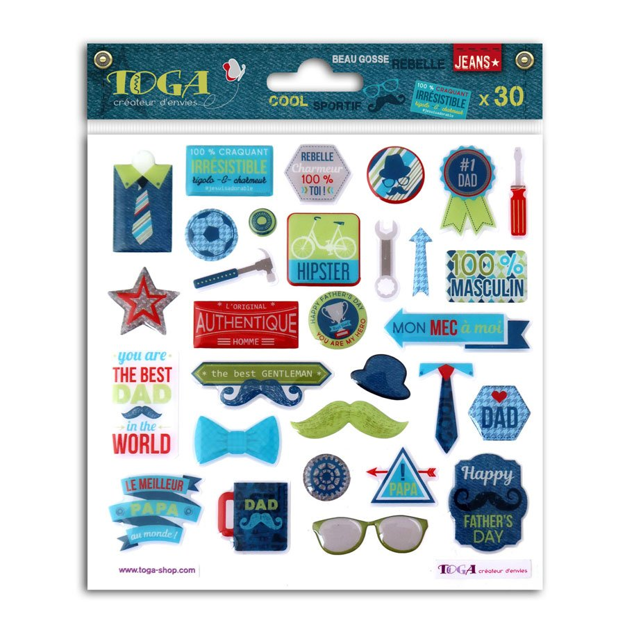 100 % Masculin - Stickers Epoxy - 30 pcs